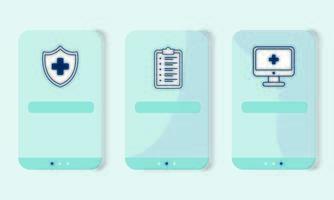 skrivbord med telemedicinsteknik och fastställda ikoner vektor