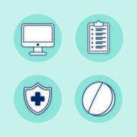 skrivbord med telemedicinsteknik och fastställda ikoner