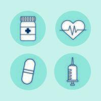 bunt med medicinska uppsättning ikoner
