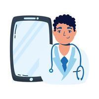 professionell läkare med smartphone-telemedicin