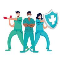 professionella läkare boxning med handskar och sköld