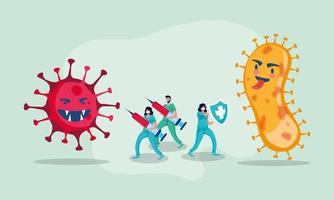 covid19 Pandemiepartikel mit Ärzten und Impfstoffen