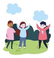 Gruppe von Menschen zusammen, um ein besonderes Ereignis zu feiern, junge Männer und Frauen im Park feiern