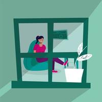 Frau mit Laptop im Sofa bleiben zu Hause Kampagne