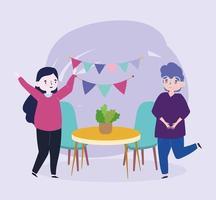 Gruppe von Menschen zusammen, um ein besonderes Ereignis zu feiern, glückliche Paar Party Feier im Raum