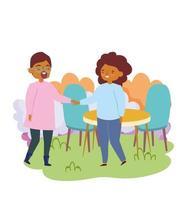 grupp människor tillsammans för att fira en speciell händelse, man och kvinna som håller hand i parken