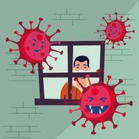 covid19 pandemipartiklar med mannen inuti huset vektor
