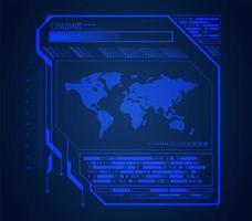 framtid och teknik blå hologram bakgrund med världskarta vektor
