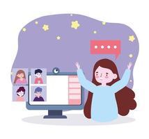 online-fest, träffa vänner, lycklig kvinna firar med grupp via datorwebbkamera vektor