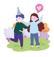 människor tillsammans för att fira en speciell händelse, lyckliga par kramar firar i parken