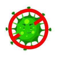 covid19-partikel med komikerns stoppsymbol