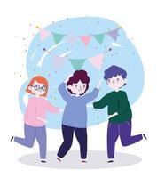 grupp människor tillsammans för att fira en speciell händelse, unga människor dansar firar fest
