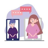 online-fest, träffa vänner, tjej och pojke som pratar via smartphone, håll avstånd under covid 19