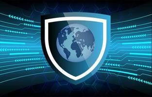 framtid och teknik blå säkerhetsbakgrund med världskarta vektor