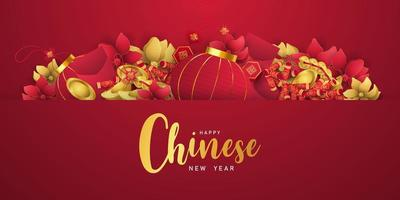 lyckligt kinesiskt nyår banner kort år av oxen.