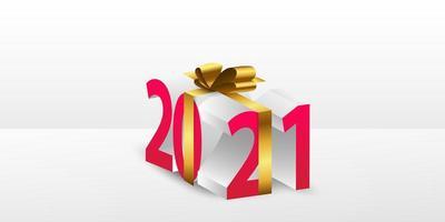 Frohes neues Jahr 2021 Geschenk Hintergrund. vektor
