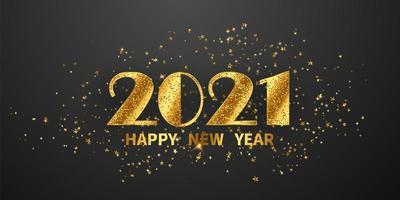 2021 Frohes Neues Jahr Gold Hintergrund
