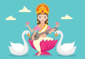 Saraswathi Charakter mit Swans vektor