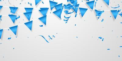 Partyflagge und blaues Konfetti-Konzeptdesign