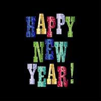 bunte funkelt frohes neues Jahr Typografie Vektor