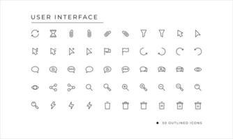 användargränssnitt ikonuppsättning med konturerad stil