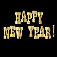 Gold funkelt Frohes Neues Jahr Typografie Vektor