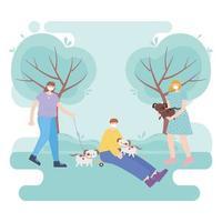 människor med medicinsk ansiktsmask, ung man och kvinnor med hundar och skridskor i parken, stadsaktivitet under koronavirus vektor
