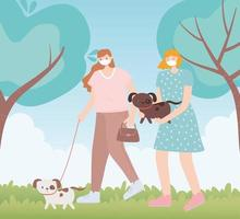 människor med medicinsk ansiktsmask, kvinnor som går med husdjurshund, stadsaktivitet under koronavirus vektor
