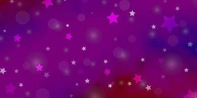 hellrosa, rote Vektorschablone mit Kreisen, Sternen.