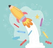 Zurück zur Schule, Buntstifte, Bleistifte und Raketen-Cartoon vektor