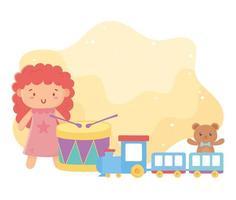 barnleksaker docka trumtåg och nallebjörn roliga tecknade