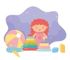 Kinderspielzeug Objekt amüsant Cartoon Puppe Ball Flugzeug und Blöcke vektor
