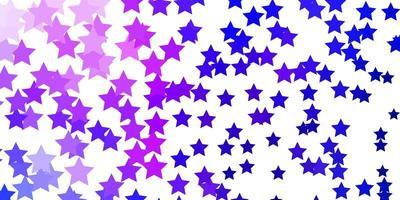 dunkelrosa, blaue Vektorschablone mit Neonsternen. vektor