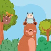 niedliche Tiere tragen Eule und Tarsius in der wilden Karikatur des Astbaumgraswaldnatur