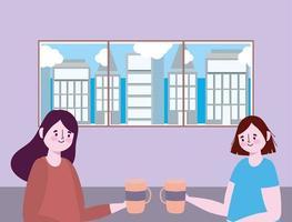 sozial distanzierendes Restaurant oder ein Café, zwei junge Frauen mit Kaffeetasse, Covid 19 Coronavirus, neues normales Leben
