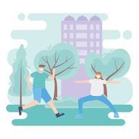 personer med medicinsk ansiktsmask, par som tränar i parken, stadsaktivitet under koronavirus vektor