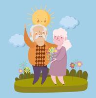 glücklicher Großelterntag, Opa und Oma mit Blumen zusammen Landschaftskarikatur vektor