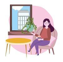 soziales distanzierendes Restaurant oder ein Café, Frau mit Kaffeetasse, die Fenster sucht, das auf Stuhl sitzt, covid 19 Coronavirus, neues normales Leben