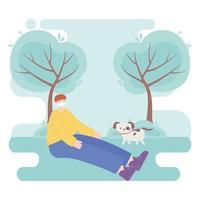 personer med medicinsk ansiktsmask, pojkesammanträde med hund i parken, stadsaktivitet under koronavirus vektor