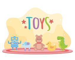 barn leksaker objekt underhållande tecknad nallebjörn anka dinosaurie robot elefant på mattan