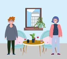 social distansera restaurang eller ett café, man och kvinna står med bord och dryck koppar, covid 19 coronavirus, nytt normalt liv vektor