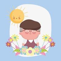 Glücklicher Großelterntag, Opa mit Hutbrille und Blumenkarikatur vektor