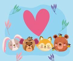 söt tecknad djur bedårande liten björn räv apa och kanin ansikten härlig vektor