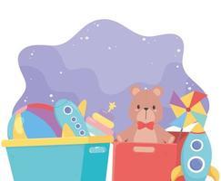 Kinderspielzeugkiste und Eimer mit Bärenkugel-Windrad-Flugzeugraketenobjekt amüsanter Cartoon
