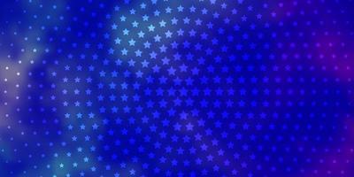 dunkelrosa, blauer Vektorhintergrund mit bunten Sternen.