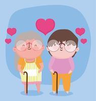 Glücklicher Großelterntag, ältere Oma Opa mit Herzen lieben Spazierstöcke Cartoon