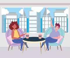 sozial distanzierendes Restaurant oder ein Café, Mann und Frau mit Kaffeetasse halten Abstand, Covid 19 Coronavirus, neues normales Leben