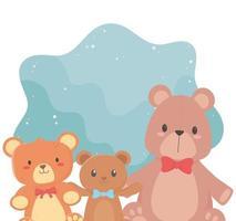 barnleksaker objekt underhållande roliga tecknade små nallebjörnar med rosett