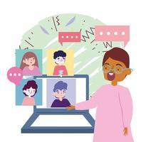 Online-Party, Treffen mit Freunden, Mann sprechen Gruppe Leute Videoanruf, Abstand halten vektor