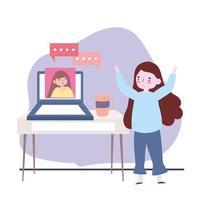Treffen mit Freunden, Frauen, die für einen Laptop sprechen, halten Abstand zum Schutz covid-19 vektor